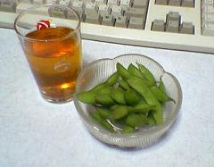 枝豆と麦茶
